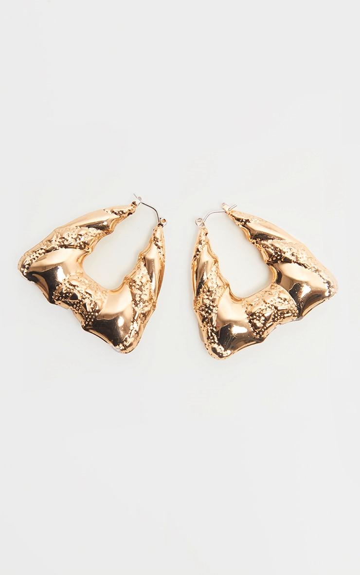 Gold Chunky Retro Diamond Shape Hoop Earrings 2