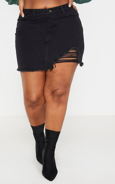 Plus Black One Sided Distressed Hem Denim Skirt