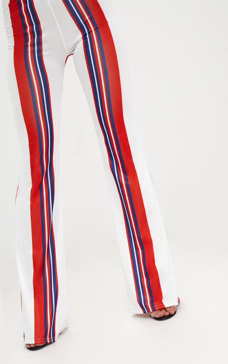 Petite Red Slinky Stripe Flared Trousers 5