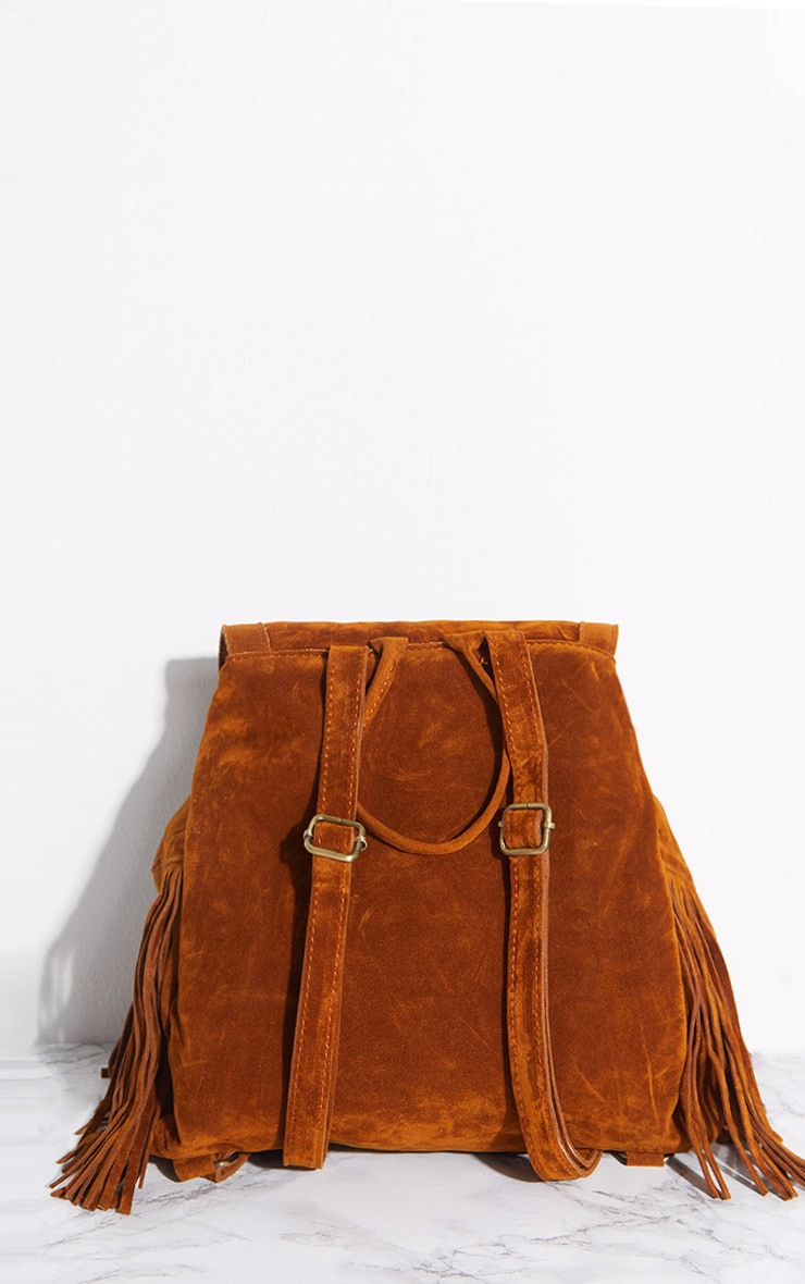 Tan Suedette Fringe Backpack 4