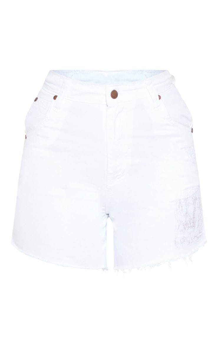 Petite White High Waist Frayed Hem Distressed Denim Shorts 3