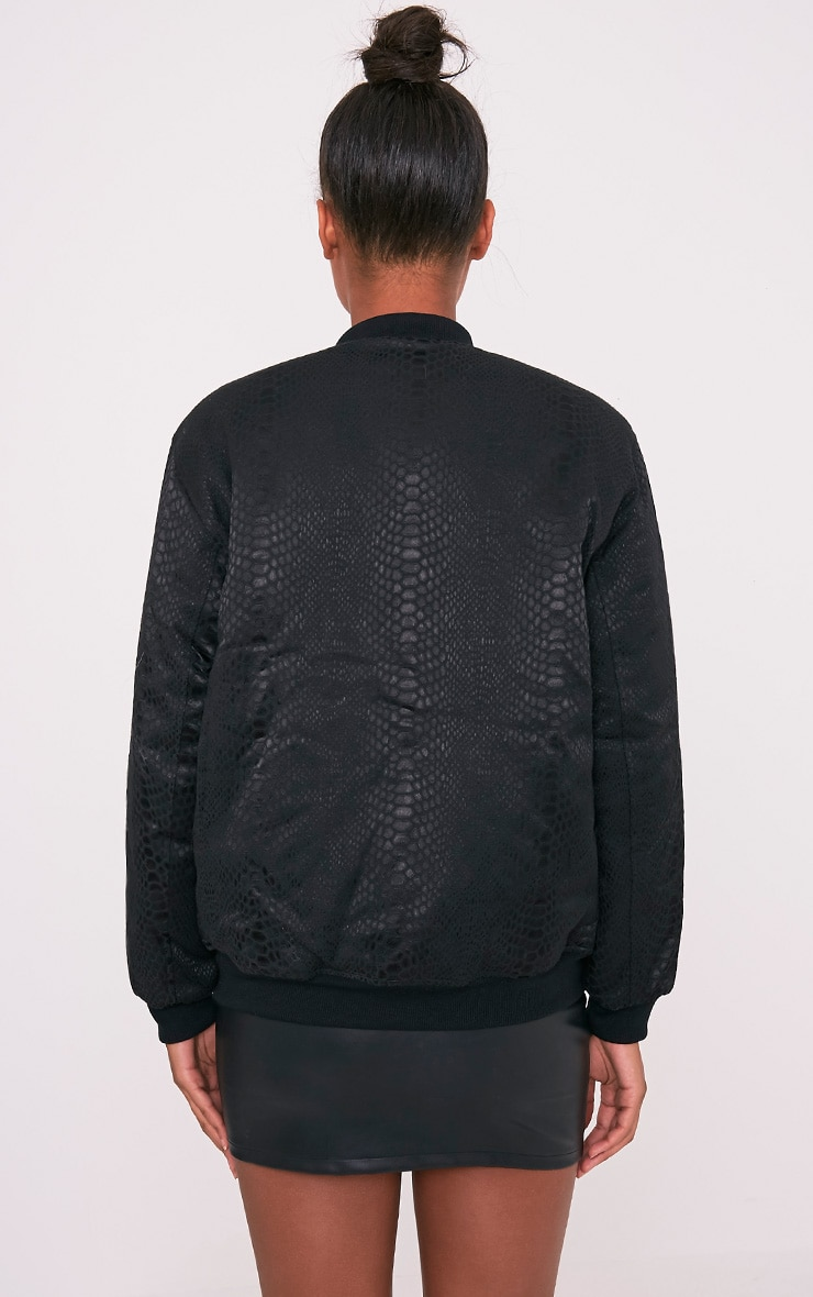 Leatrice Black Snakeprint Padded Bomber Jacket 2