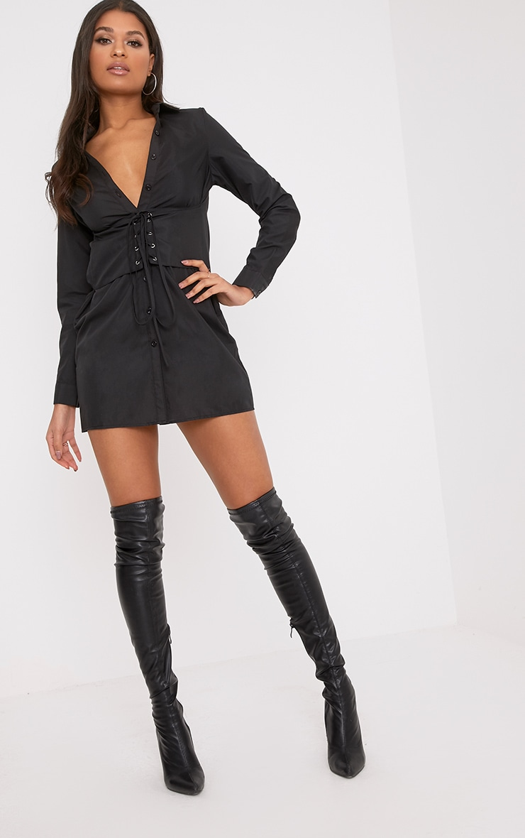 Corset Black Lace Up Open Shirt Dress 3