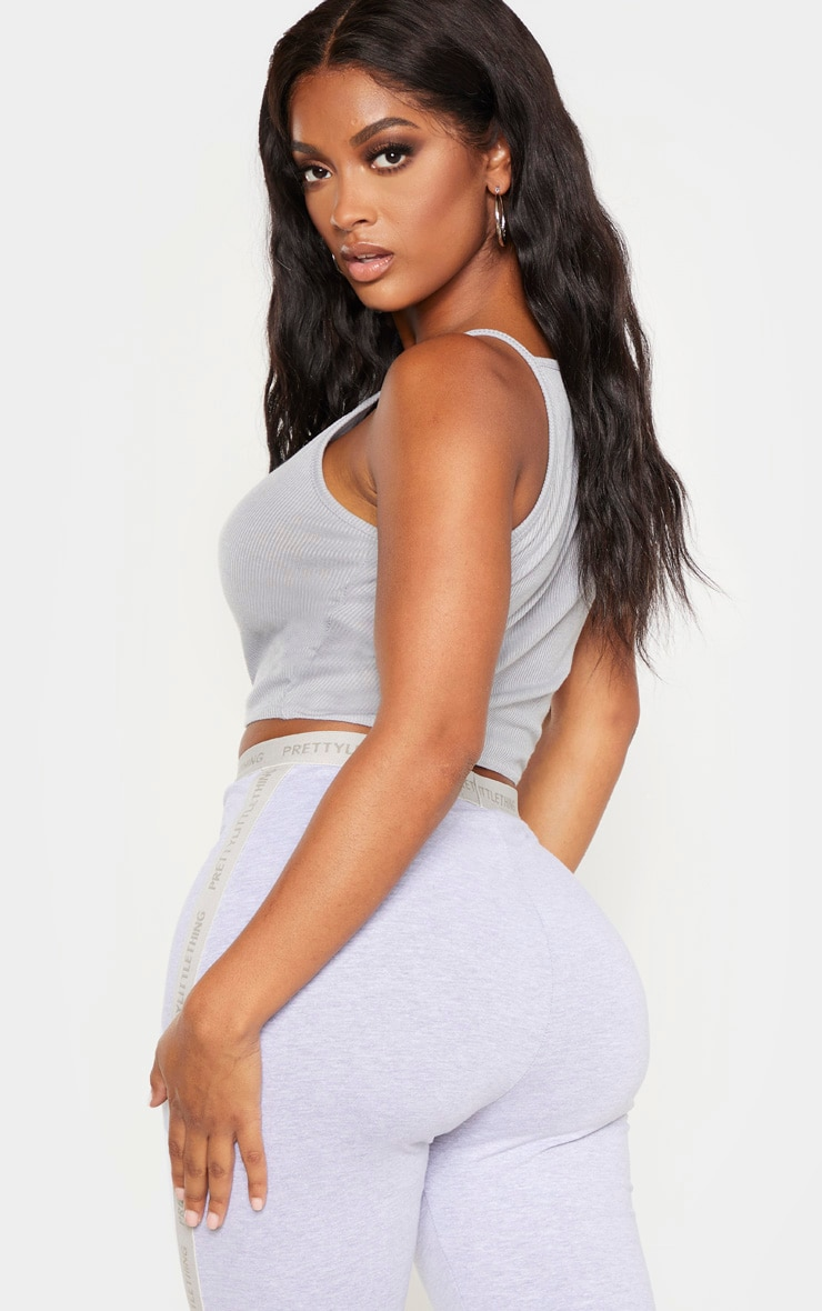 Shape Grey Marl Fuller Bust Rib Racer Neck Crop Top 2
