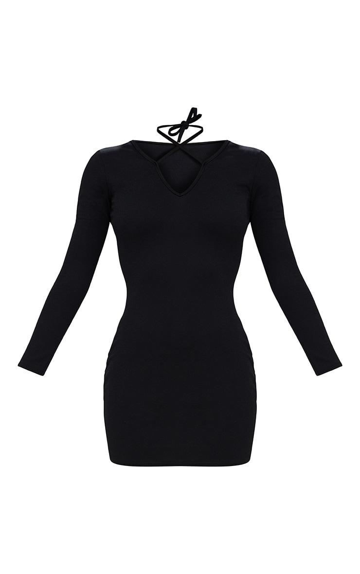 Black Tie Neck Plunge Bodycon Dress 3