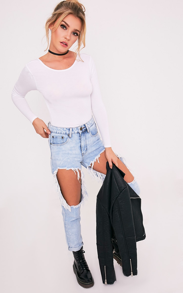 Basic White Scoop Neck Longsleeve Top 5