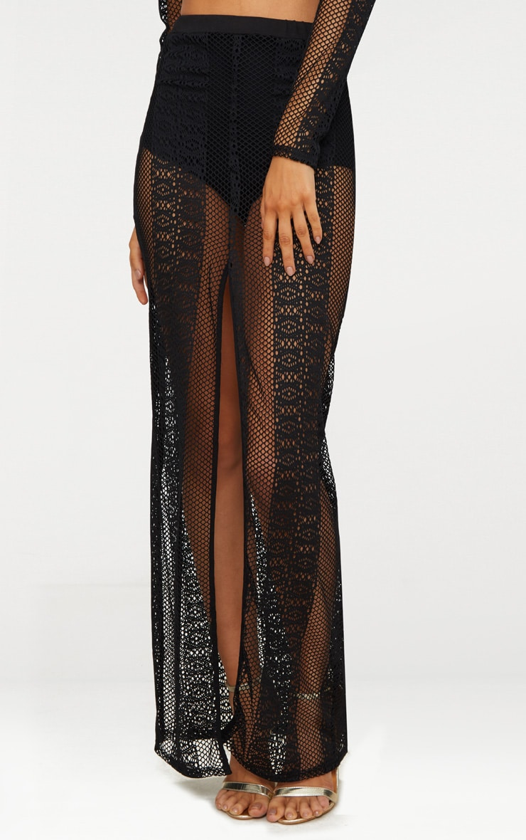 Black Lace Split Maxi Skirt 2