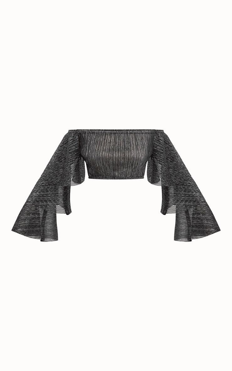 Black Metallic Bardot Frill Sleeve Crop Top 3