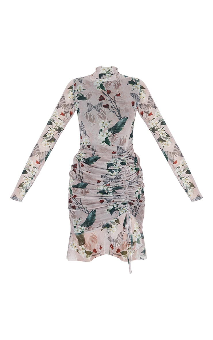 Nude Floral Print High Neck Long Sleeve Mesh Ruched Midi Dress 5