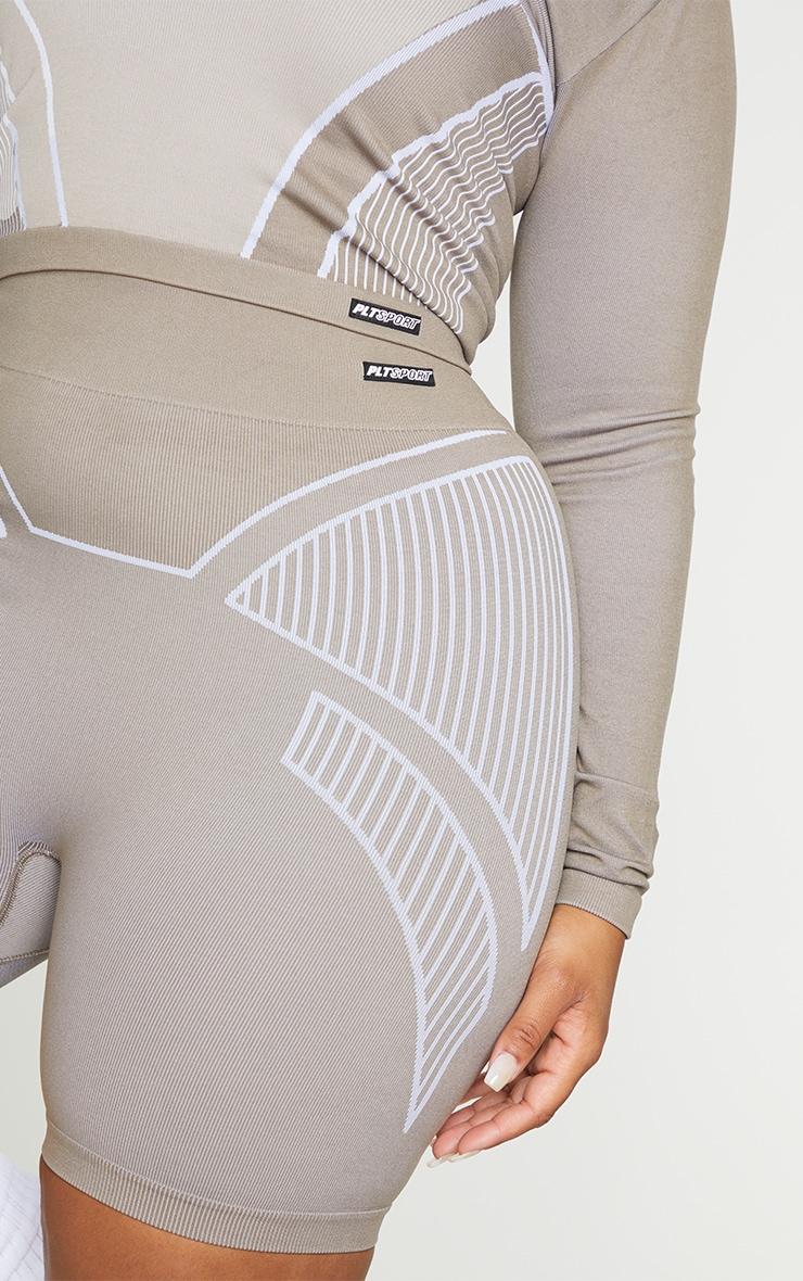 Plus Taupe Seamless Detail Shorts 5