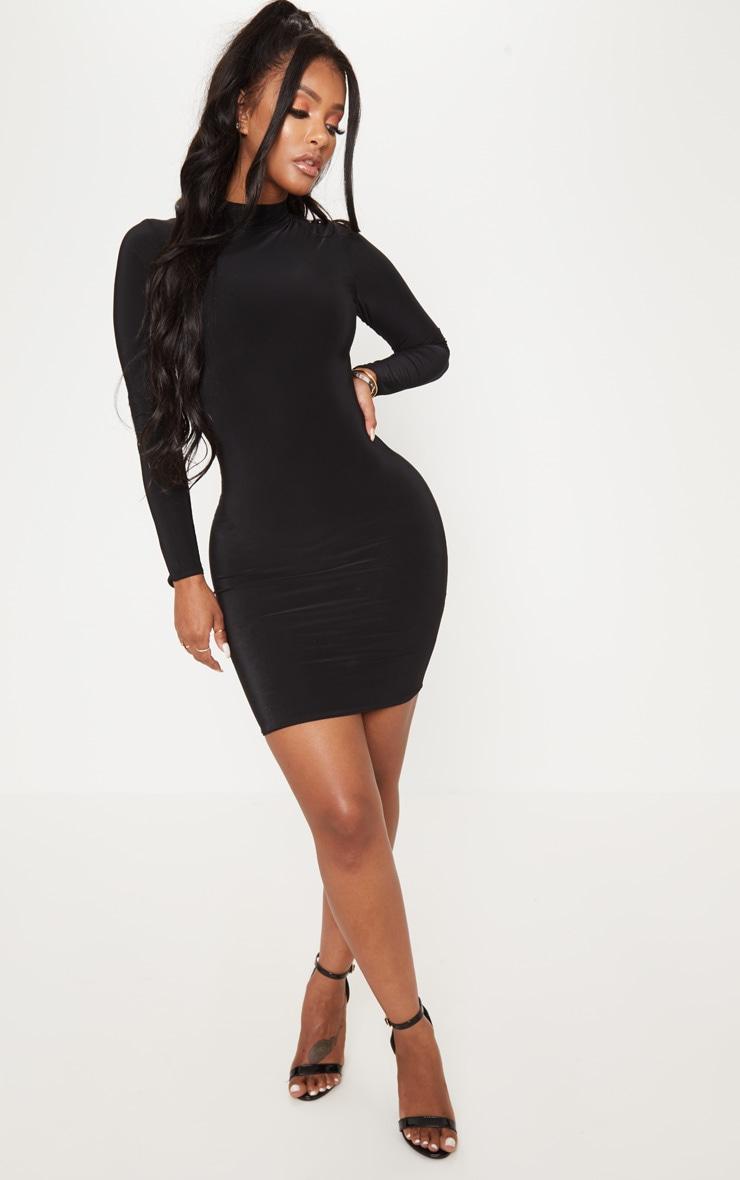 Shape Black Slinky High Neck Bodycon Dress 4