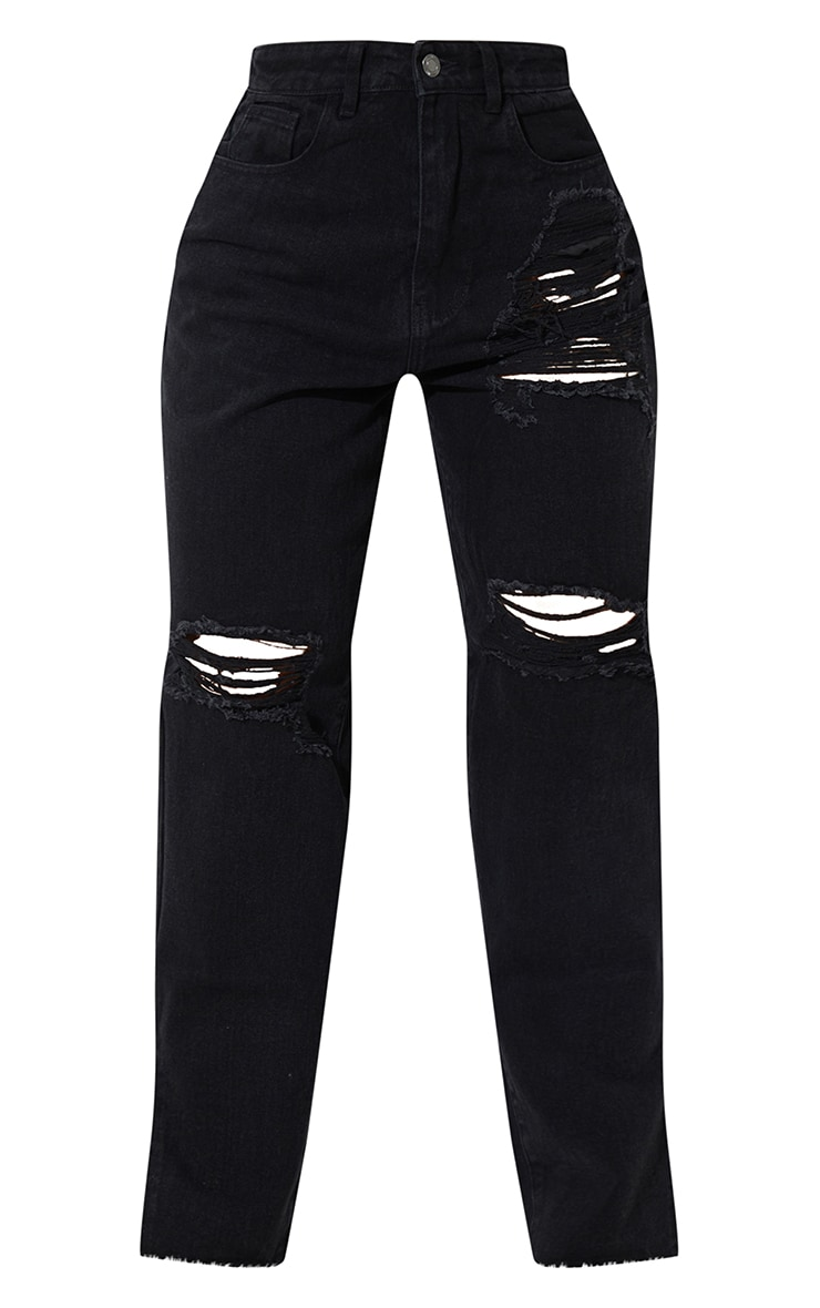 Washed Black Ripped Split Hem Boyfriend Jeans 5