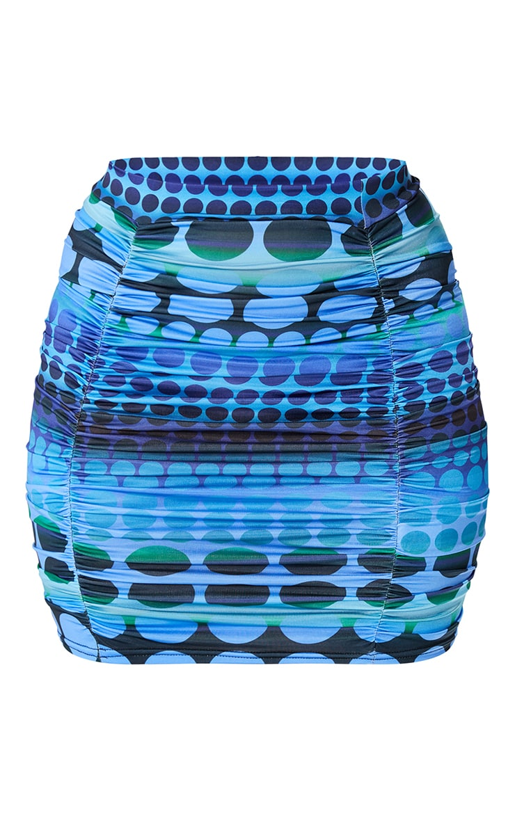 Bright Blue Swirl Print Slinky Ruched Mini Skirt 6