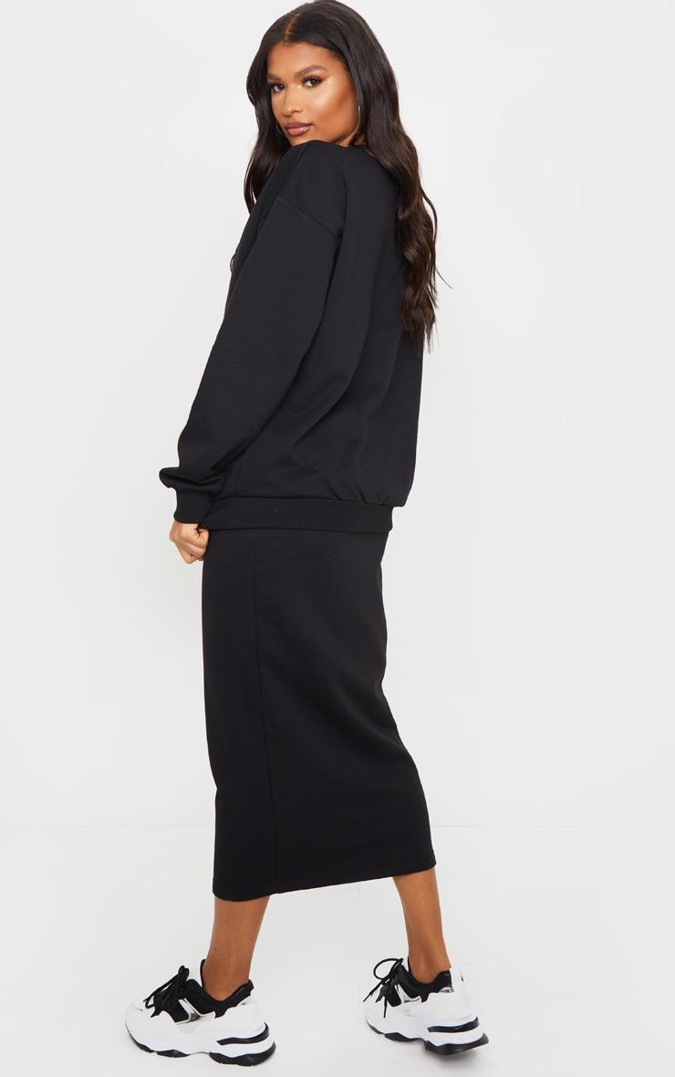 Black Crew Neck Sweater & Midi Skirt Set 2