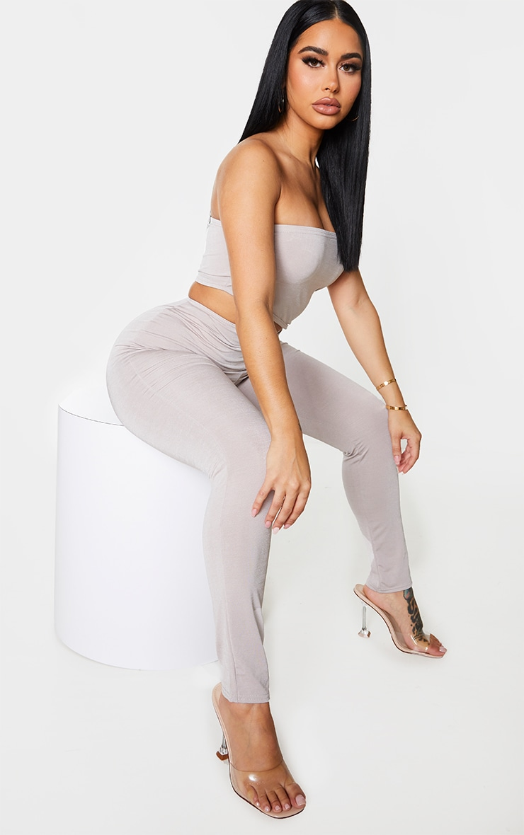 Shape Grey Slinky Cut Out Bandeau Jumpsuit 3