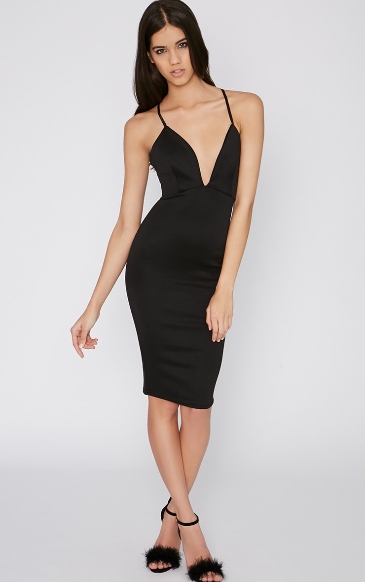 Alene Black Cross Back Midi Dress 1