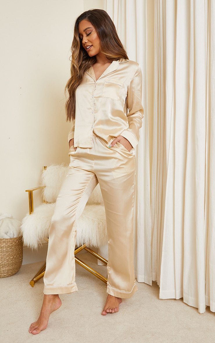 Champagne Mix And Match Piped Detail Satin PJ Pants 1
