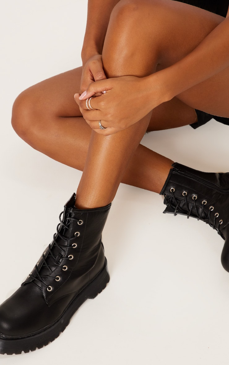 Black Chunky Sole Lace Up Ankle Boot 2