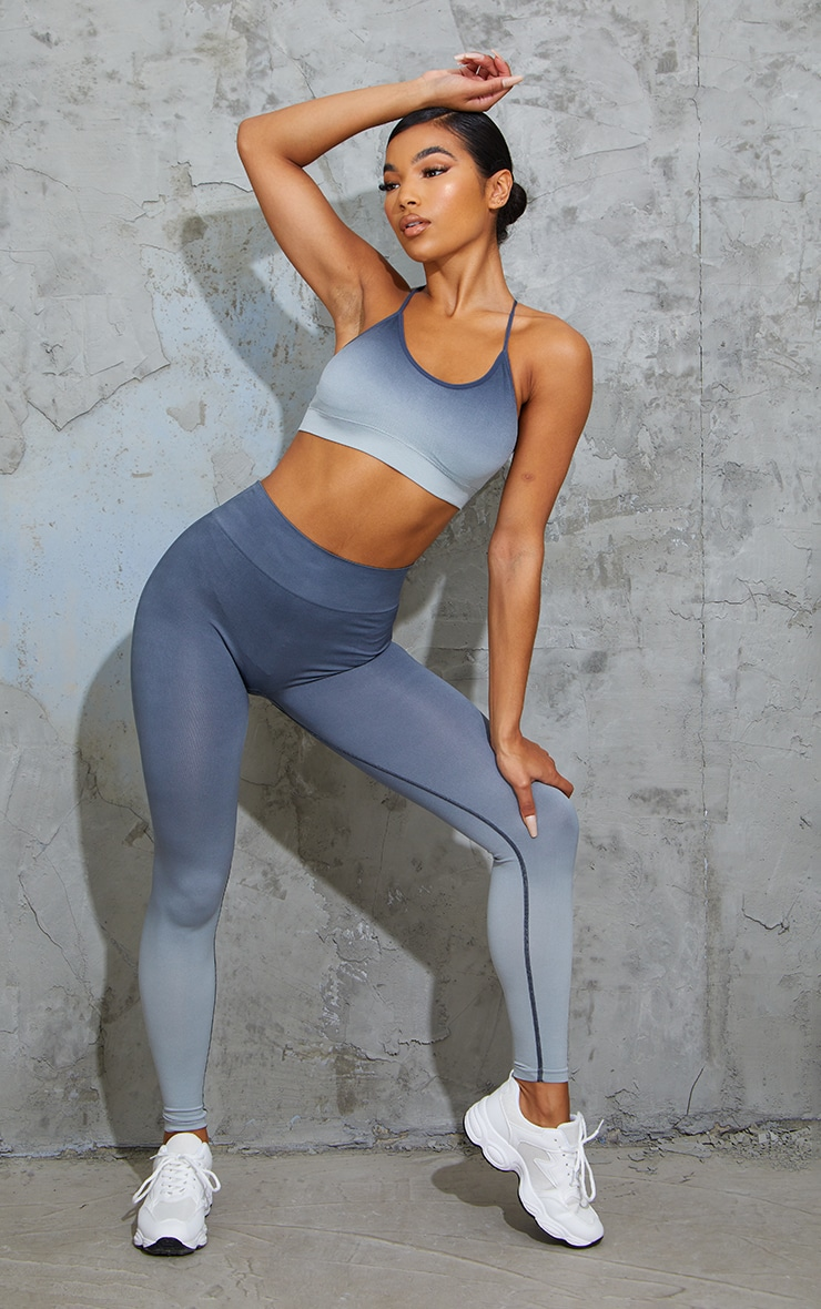 Blue Seamless Ombre Leggings 1
