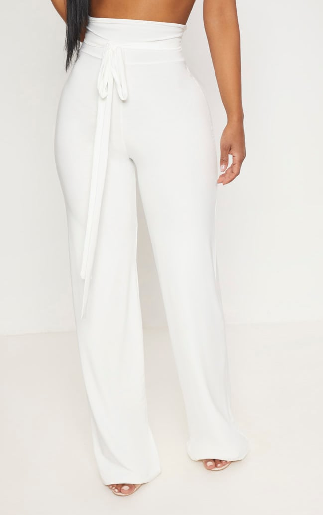 Shape White Slinky Extreme High Waist Detail Wide Leg Pants 2