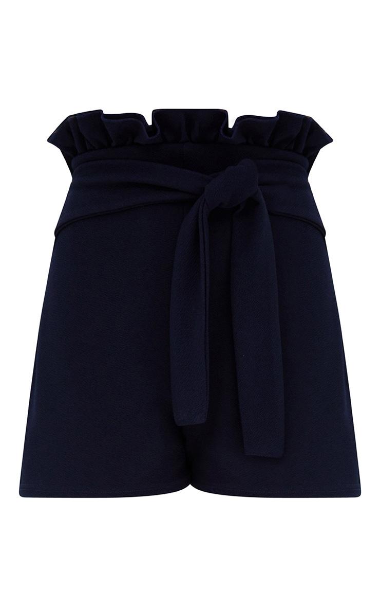 Navy Paperbag Waist Shorts 3