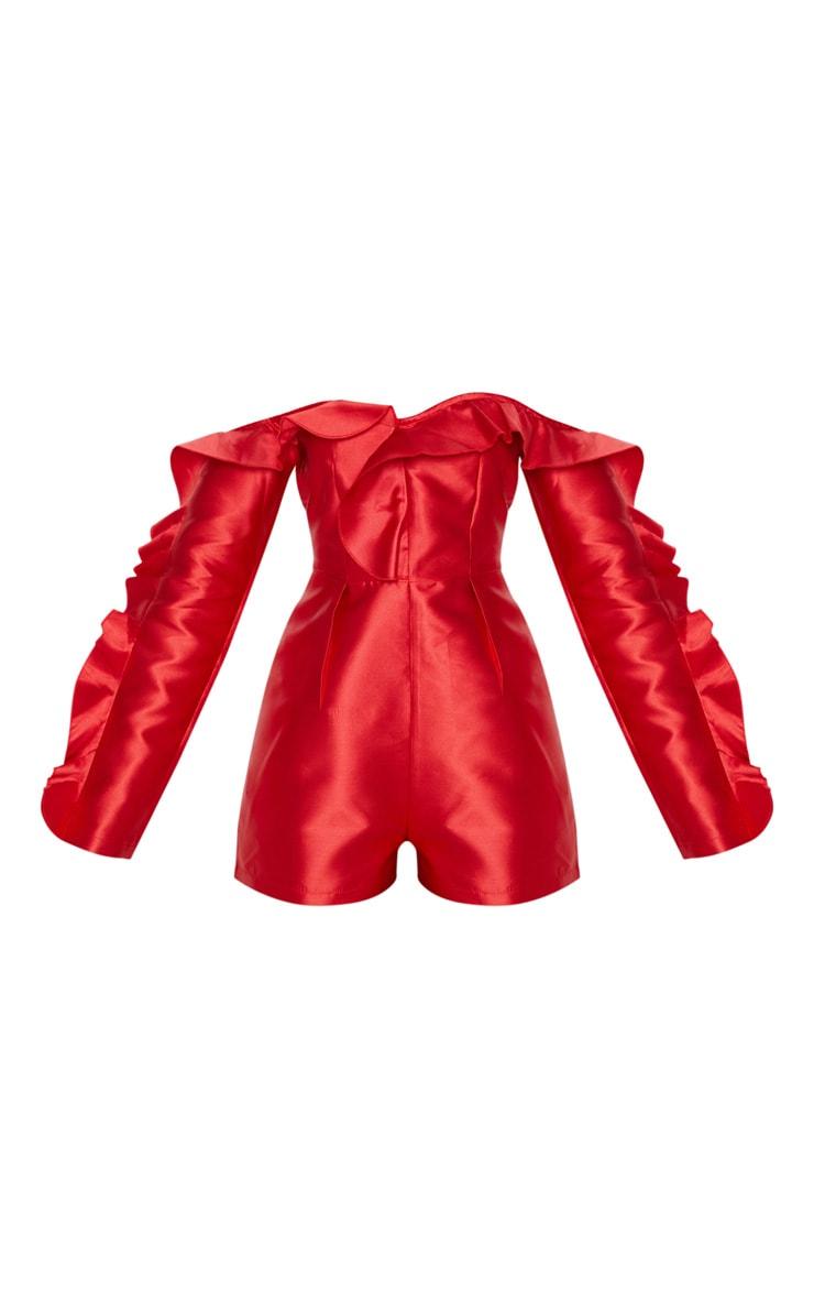 Red Satin Bardot Frill Detail Romper 3