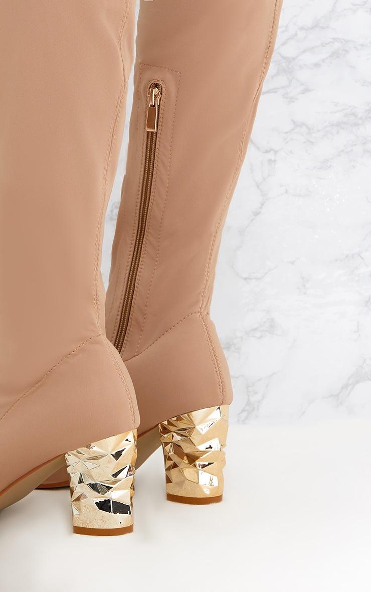 Nude Metallic Heel Lycra Thigh High Boots 5