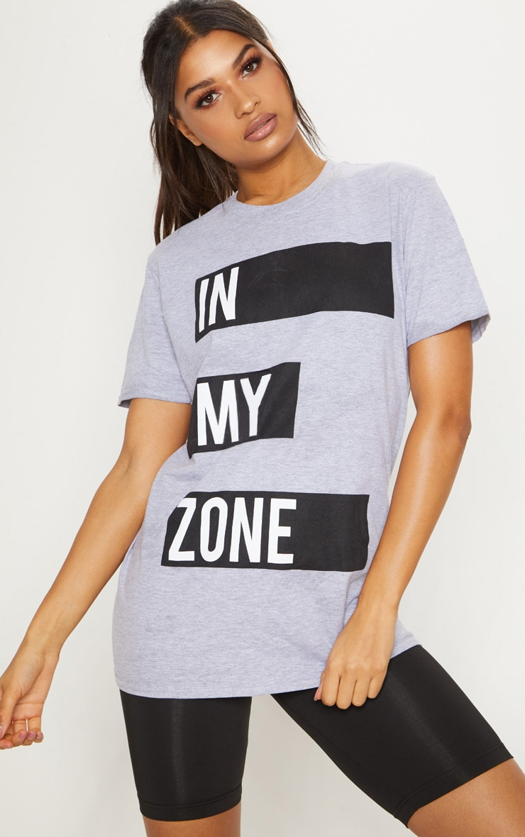 Grey Cotton In My Zone T Shirt 2