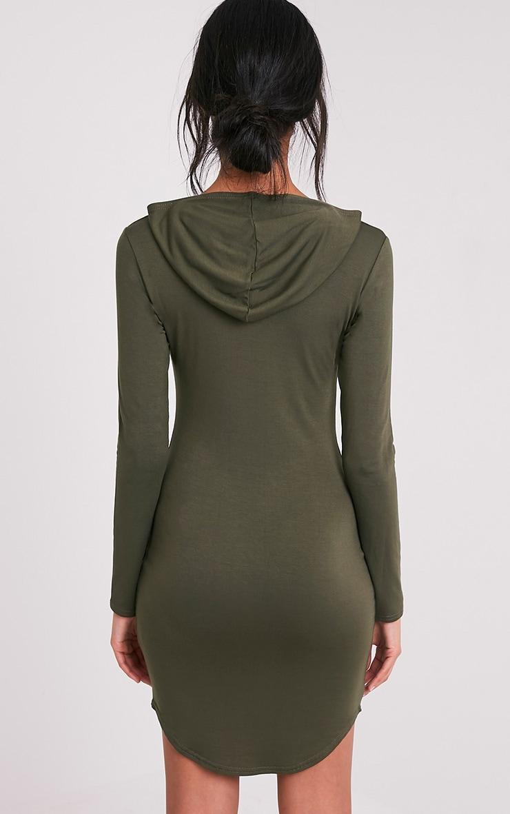 Daysie Khaki Curved Hem Hooded Bodycon Dress 2