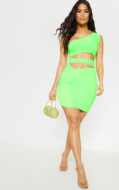 54a6dfe537 Neon Lime Slinky Cut Out Ruched Bodycon Dress