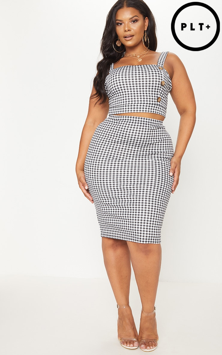 PRETTYLITTLETHING Gingham Split Detail Midi Skirt Good Selling Cheap Price Cheap 100% Original Discount Visa Payment Discount 2018 New Official ArV6PE0v7