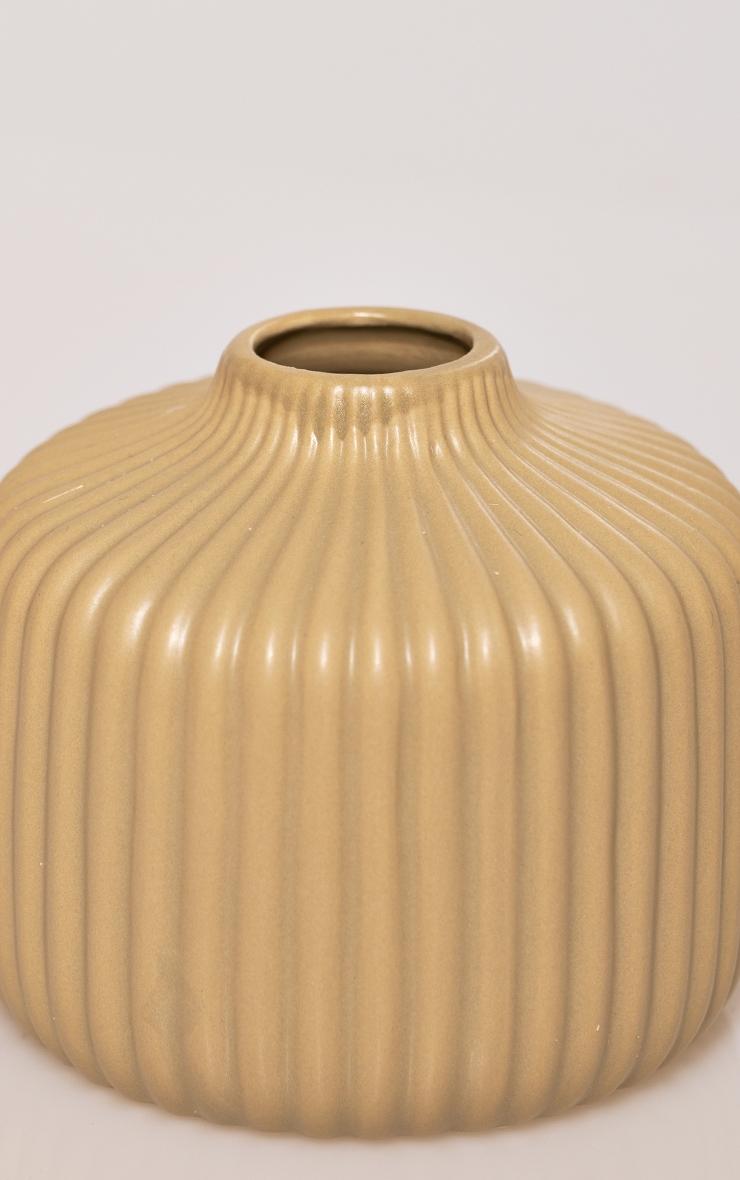 Stone Round Ribbed Vase 4