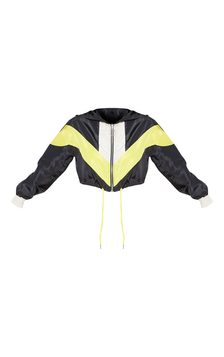 Petite Cream Colourblock Hooded Shell Suit Crop Windbreaker 4