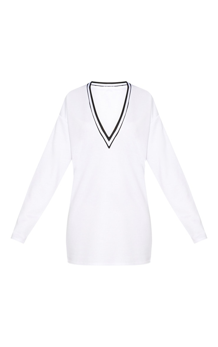 White Stripe Trim Long Sleeve Plunge Jumper Dress 3