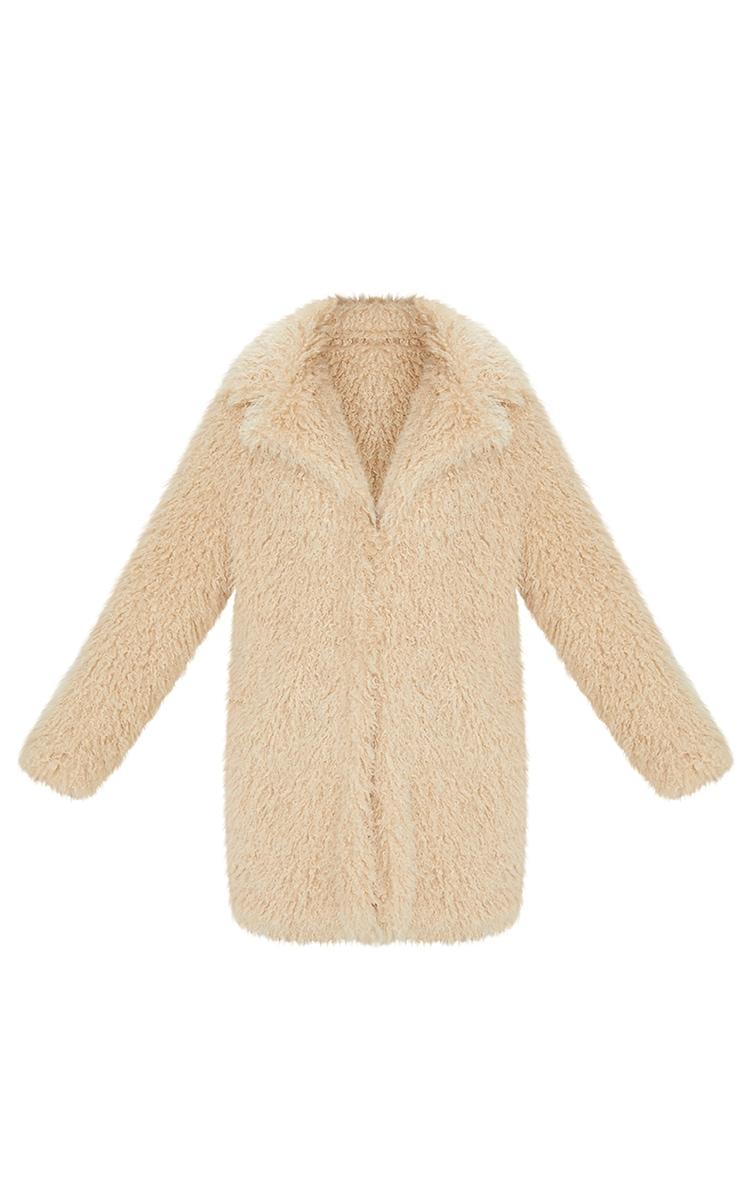 Cream Curly Faux Fur Lapel Coat 5