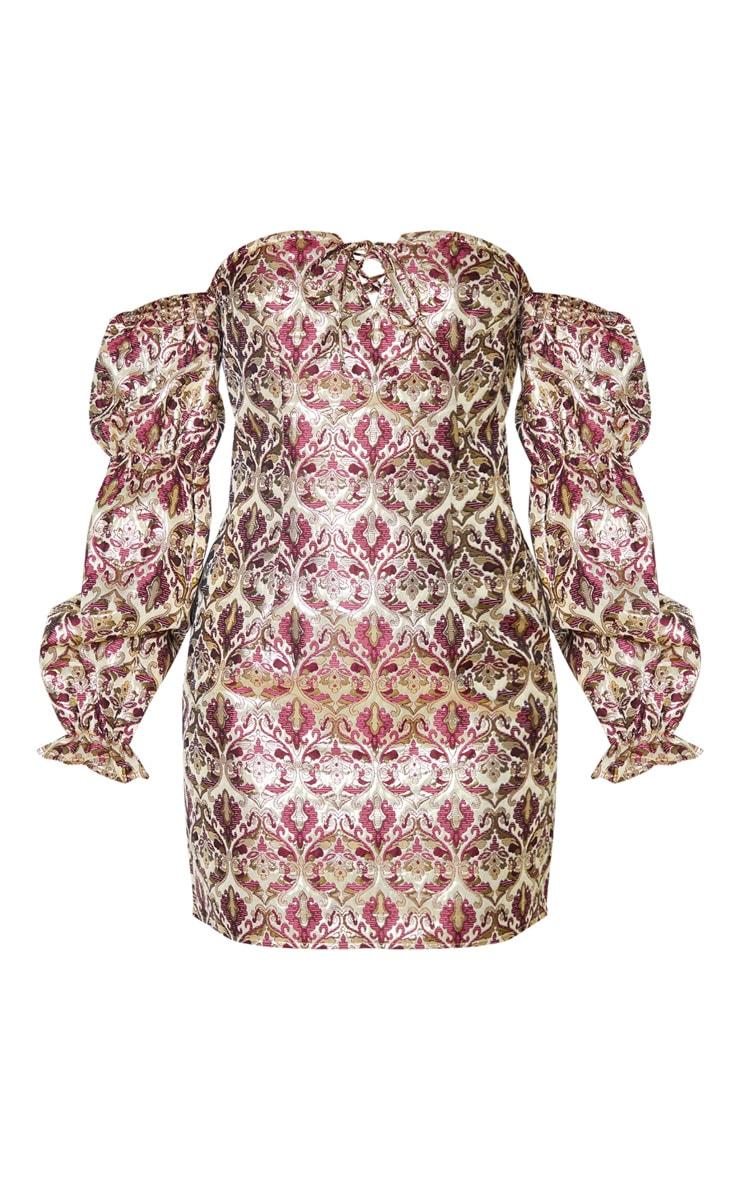 Multi Jacquard Bardot Lace Up Bodycon Dress 3