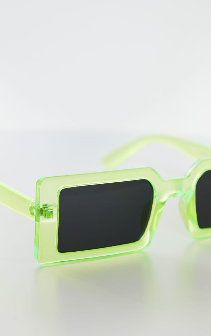 Green Squareframe Slimline Sunglasses 3
