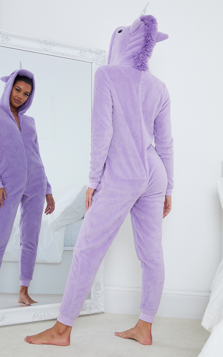 Lilac Unicorn Print Jersey Lounge Onesie 2