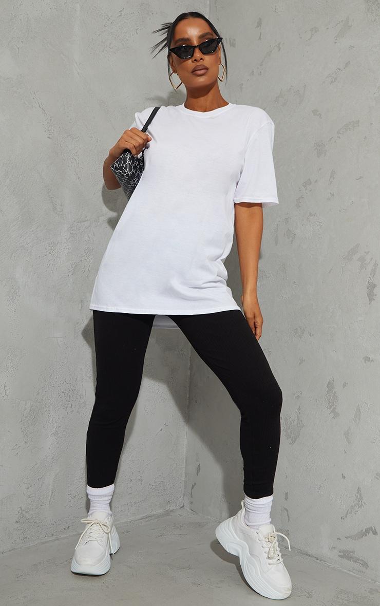 White Future Ying Yang Back Print Washed Oversized T Shirt 3