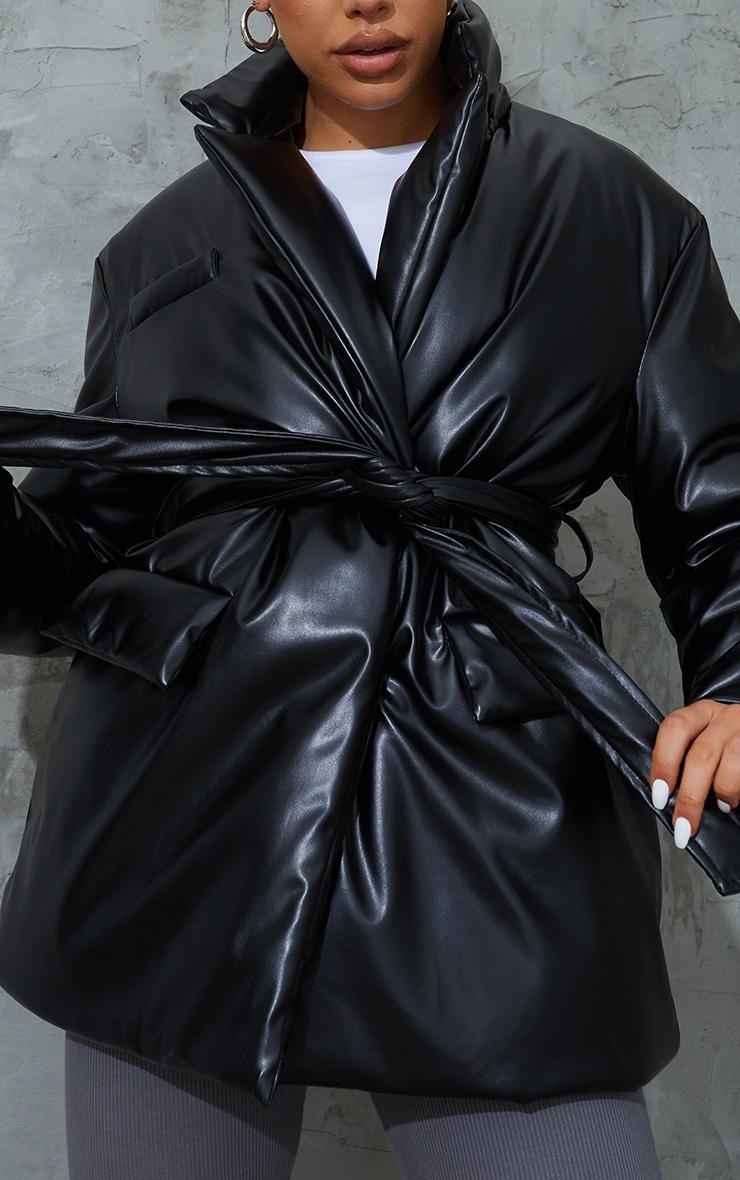 Black PU Belted Padded Blazer Style Puffer Coat 4