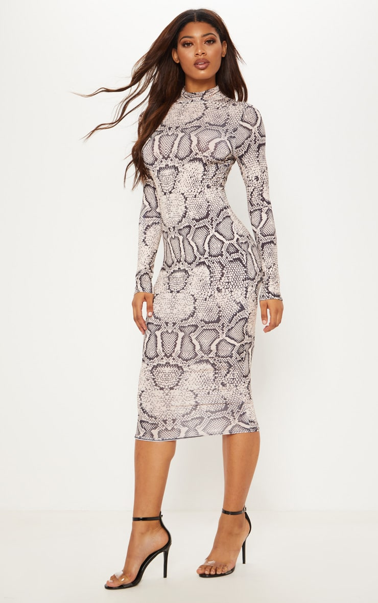 Tall Taupe Snake Print Slinky High Neck Midi Dress 1
