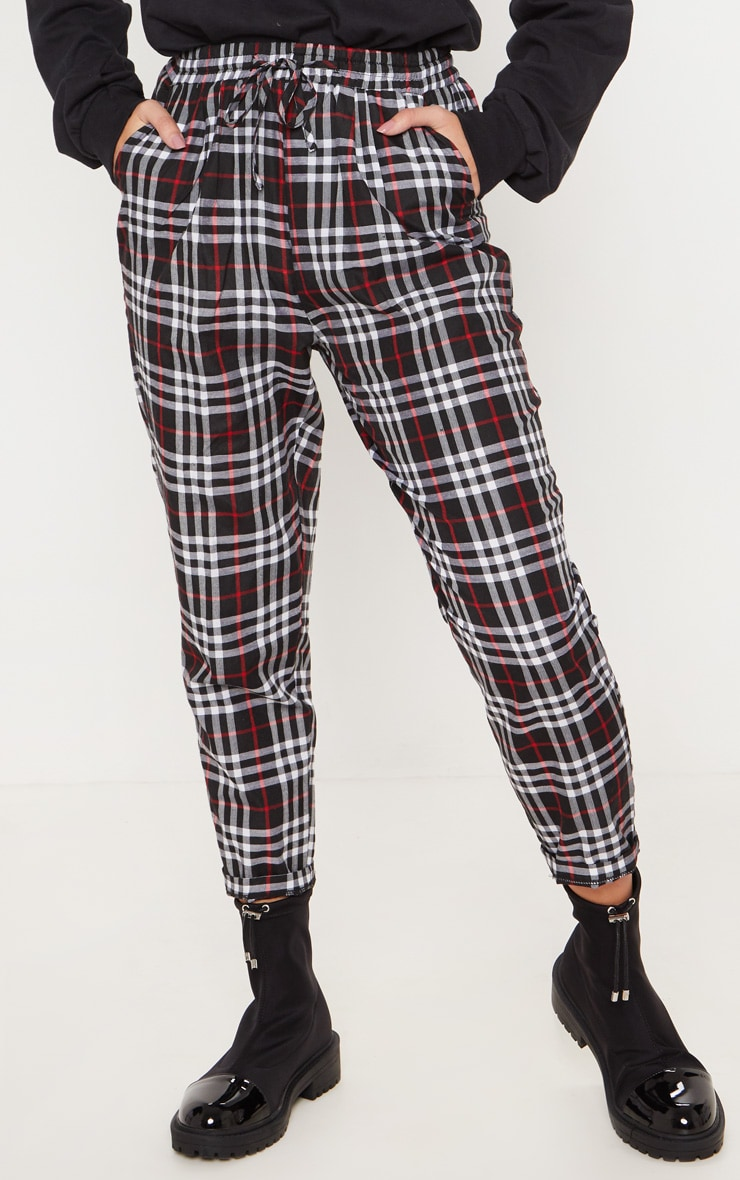 Black Checked Casual Pants 2