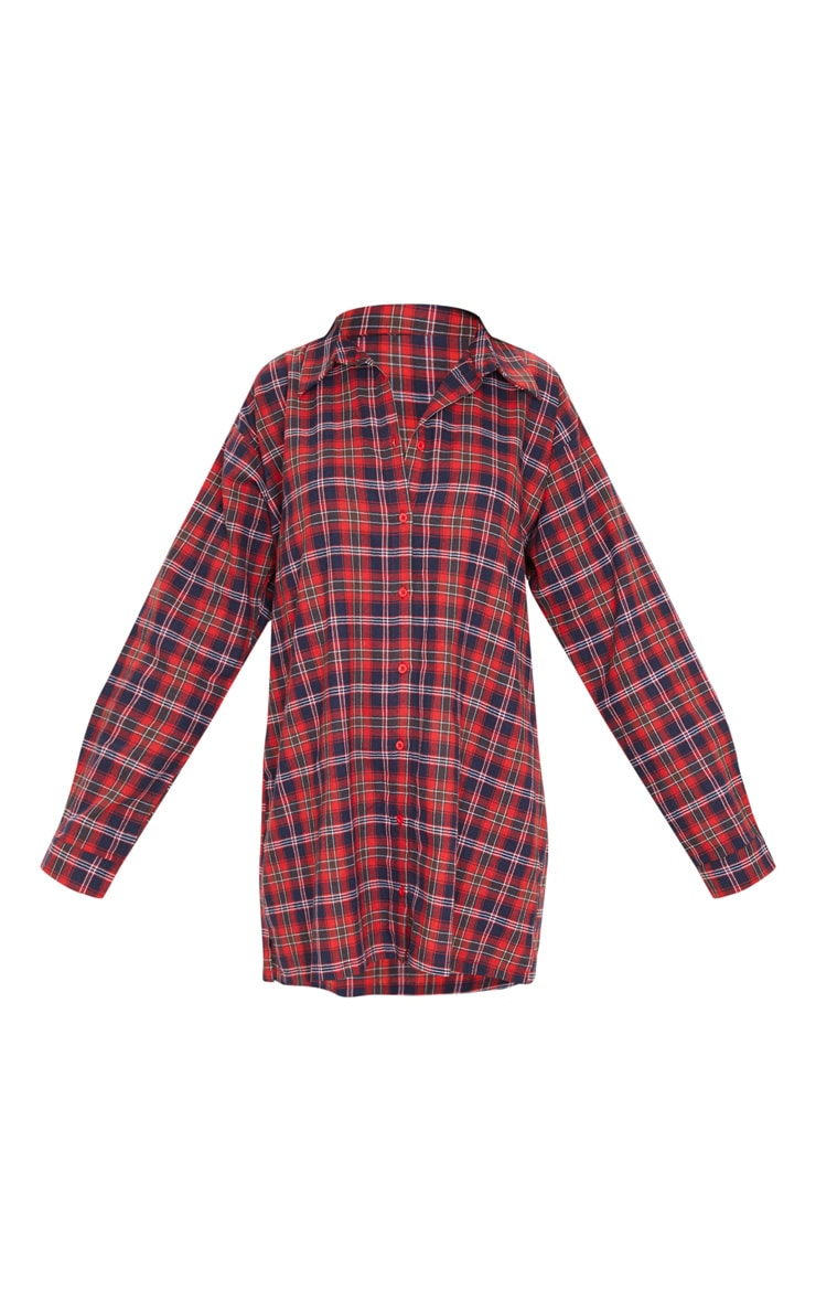PRETTYLITTLETHING Red Slogan Checked Oversized Shirt Dress 3