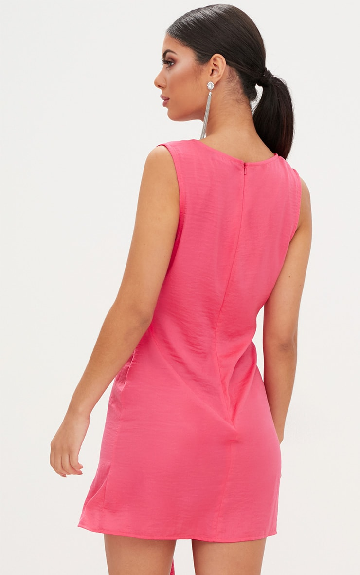 Coral Drape Front Thigh Split Satin Bodycon Dress 2