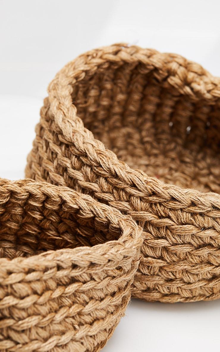 Natural Jute Large Storage Baskets Set 2 Pack 5