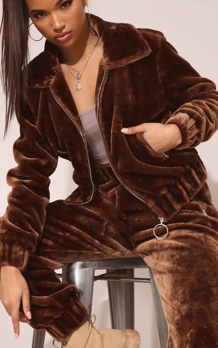 Chocolate Brown Faux Fur Jogger 6