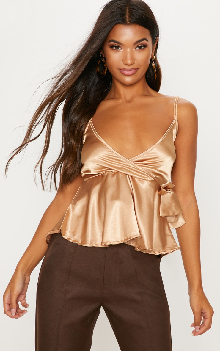 Gold Satin Tie Side Cami  4