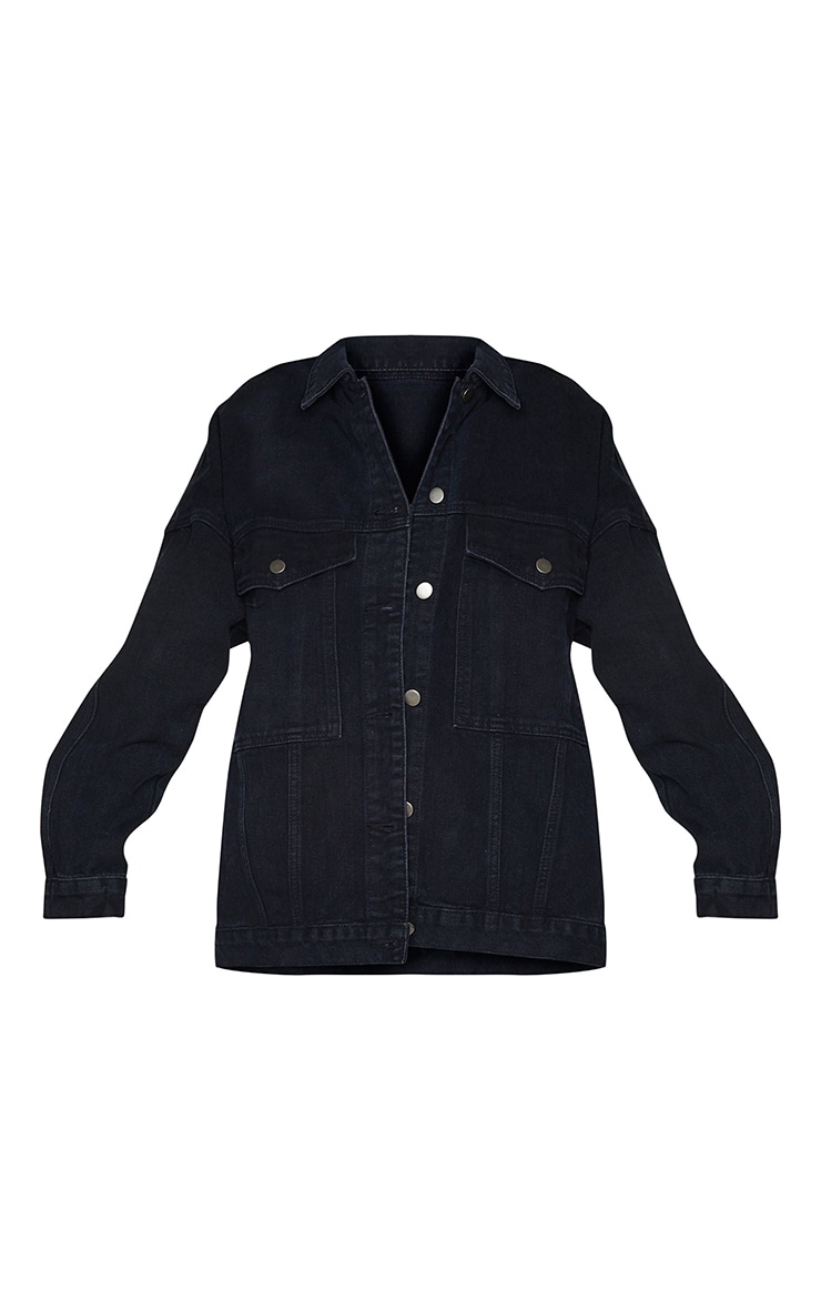 PRETTYLITTLETHING Washed Black Oversized Seam Detail Dad Fit Denim Jacket 5