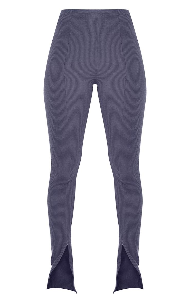 Petrol Blue Textured Rib Split Hem Skinny Pants 5