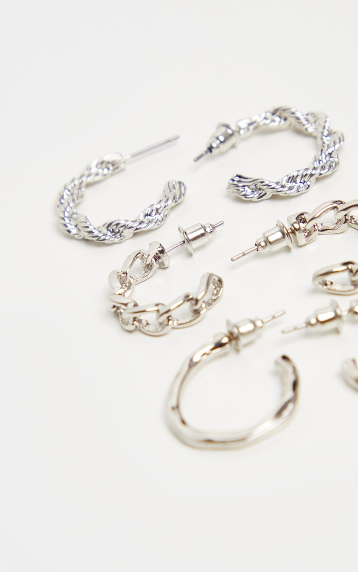 Silver Rope And Chain Micro Mini Hoop 3 Pack 3